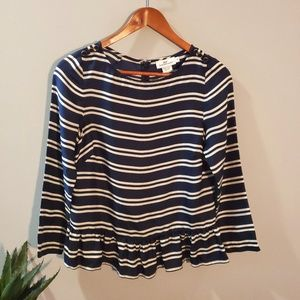 Vineyard Vines Silk Peplum Striped Top